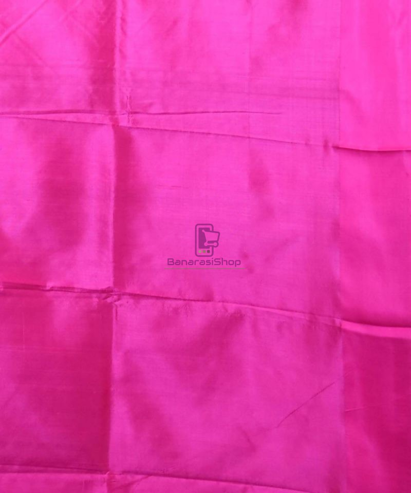 Banarasi Pure Katan Silk Handloom Bubblegum Pink Saree 4