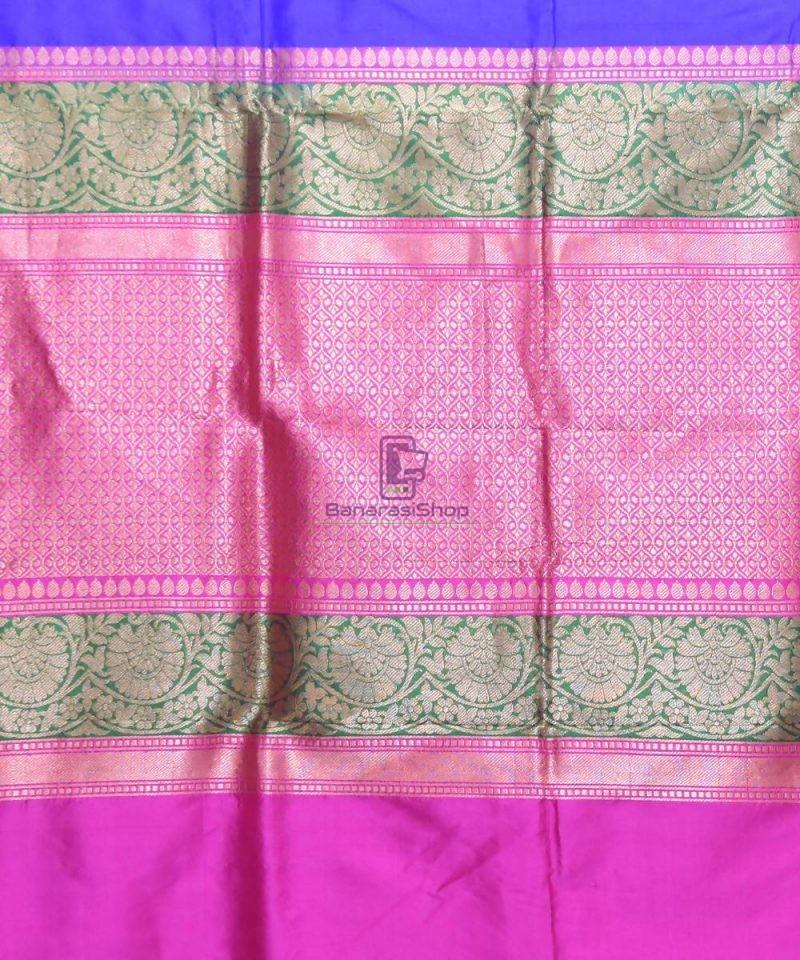 Banarasi Pure Katan Silk Handloom Navy Blue Saree 3