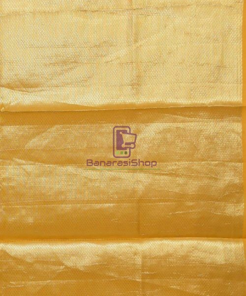 Pure Silk Banarasi Dupion Katan Handloom Saree in Yellow 7