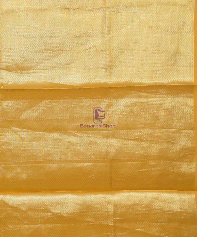 Pure Silk Banarasi Dupion Katan Handloom Saree in Yellow 4