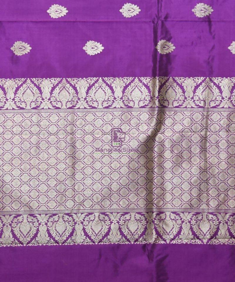 Banarasi Pure Katan Silk Handloom Purple Saree 3
