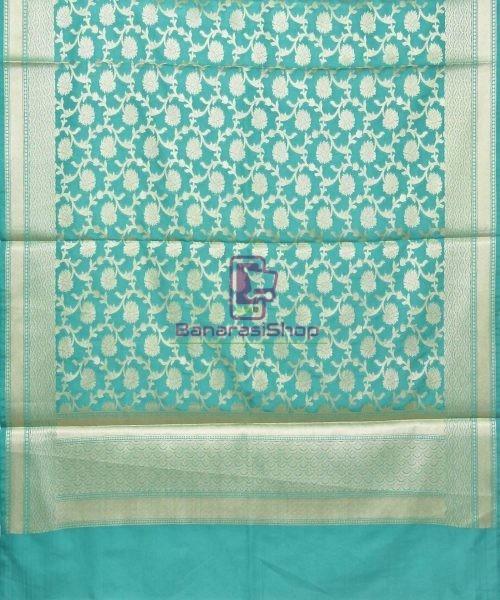 Woven Banarasi Art Silk Dupatta in Cyan Blue 3