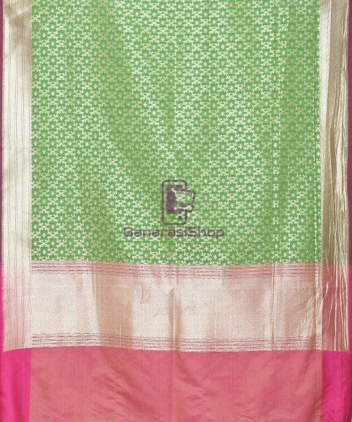 Woven Banarasi Art Silk Dupatta in Green 3