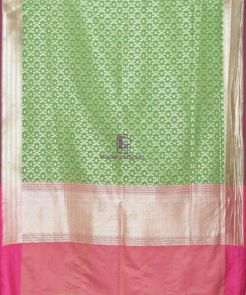 Woven Banarasi Art Silk Dupatta in Green 2