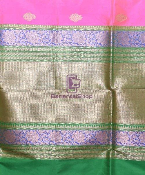 Banarasi Pure Katan Silk Handloom Pink Saree 6