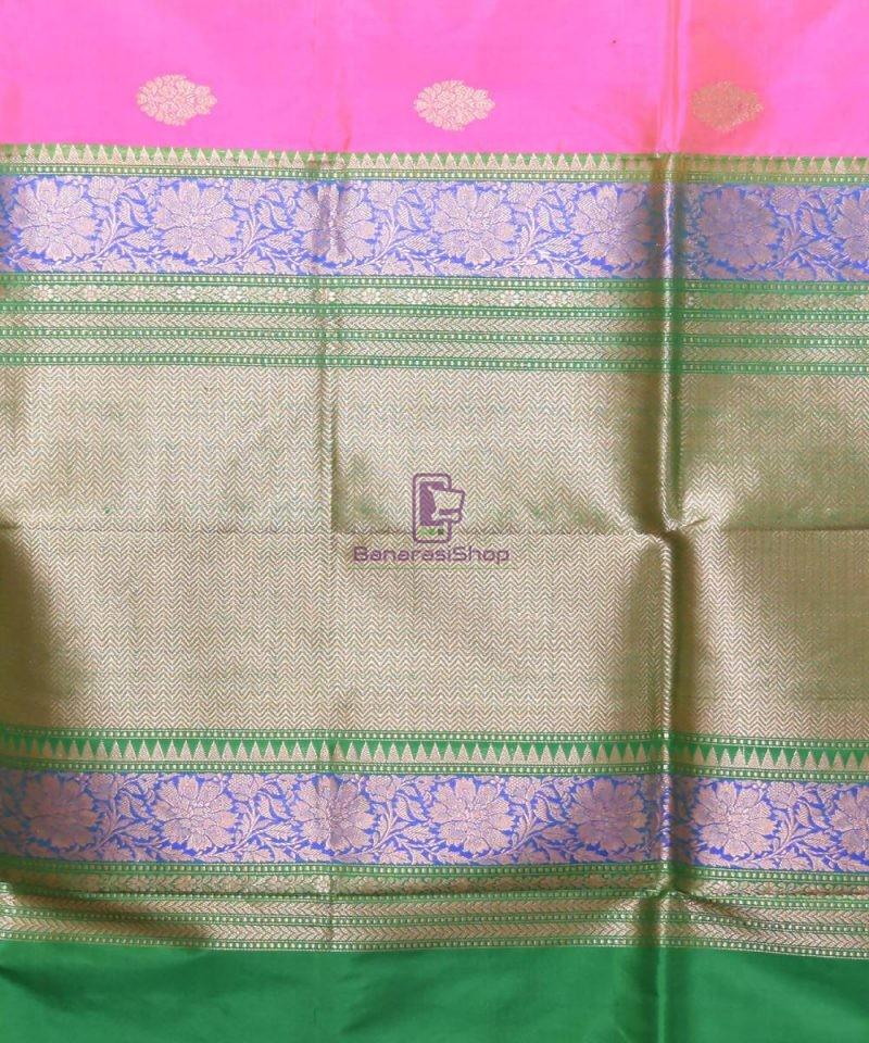 Banarasi Pure Katan Silk Handloom Pink Saree 3