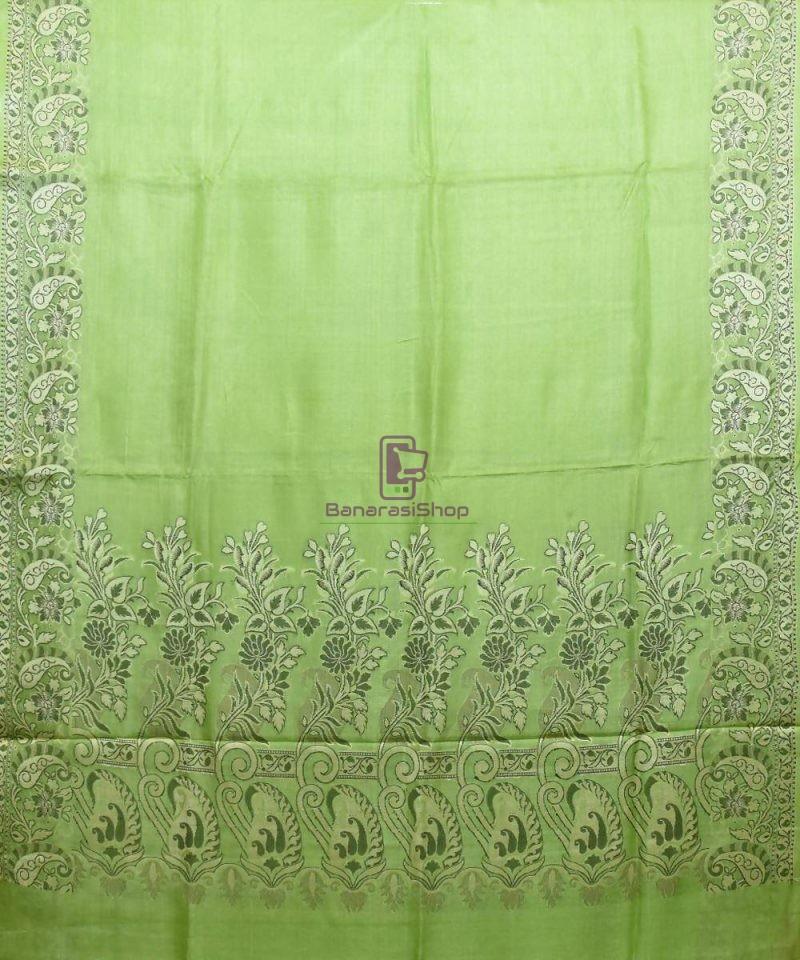 Woven Pure Tussar Silk Banarasi Saree in Pear Green 1