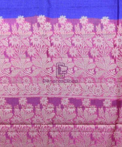 Woven Pure Tussar Silk Banarasi Saree in Royal Blue 7