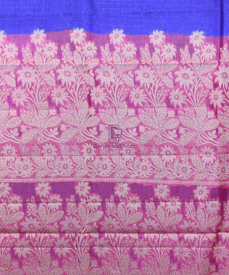 Woven Pure Tussar Silk Banarasi Saree in Royal Blue 4