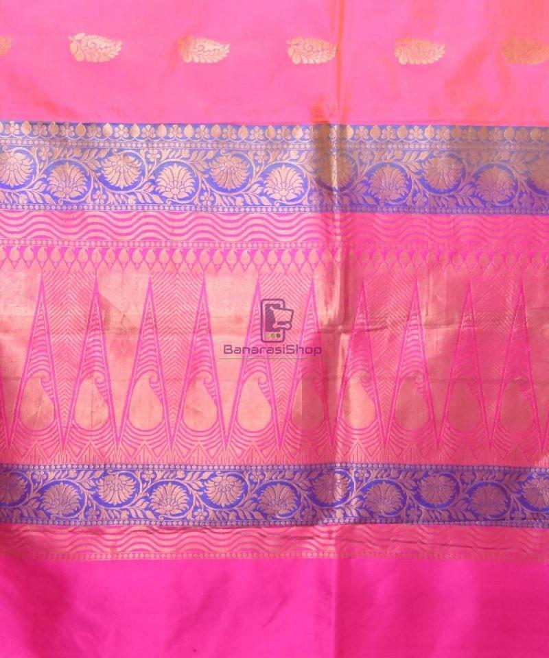 Banarasi Pure Katan Silk Handloom Bubblegum Pink Saree 3