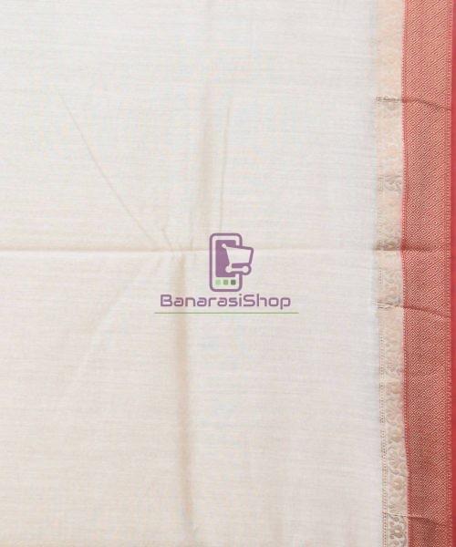 Woven Pure Muga Silk Banarasi Saree in Bone White 7