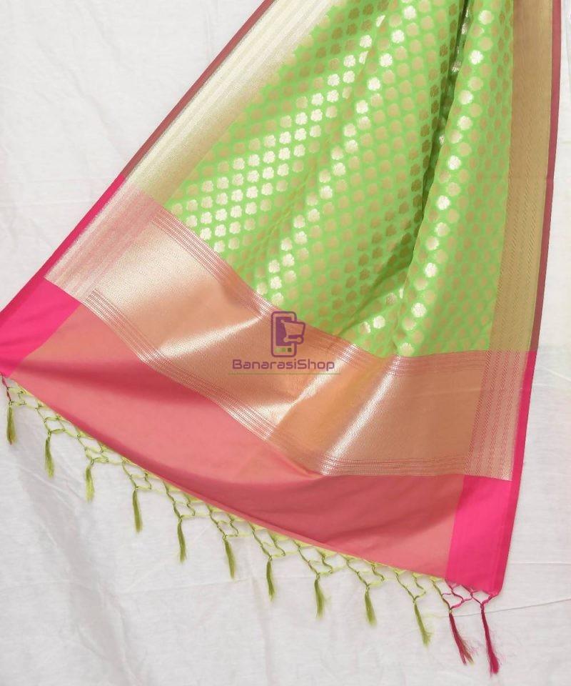 Woven Banarasi Art Silk Dupatta in Lime Green 1