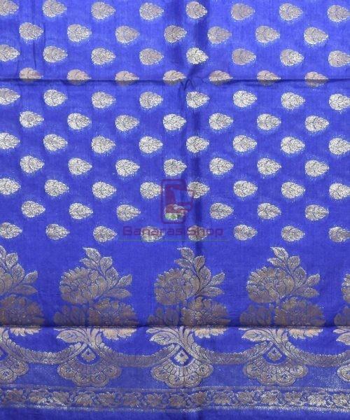 Woven Pure Tussar Silk Banarasi Saree in Azure Blue 6