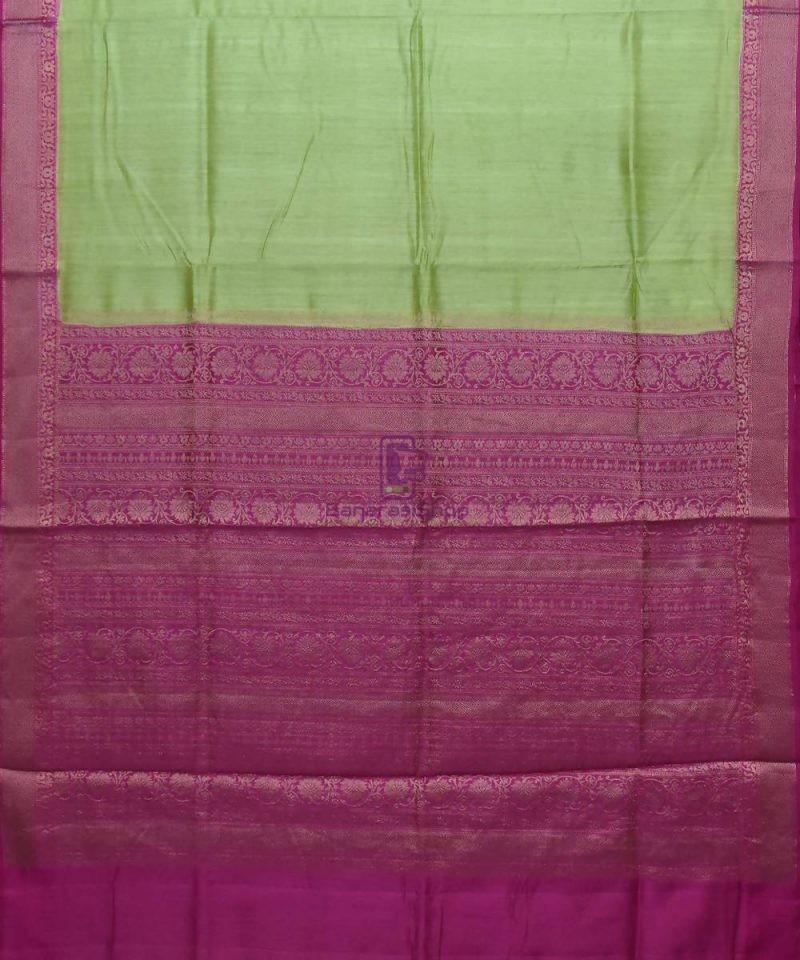 Woven Pure Muga Silk Banarasi Saree in Pear Green 1