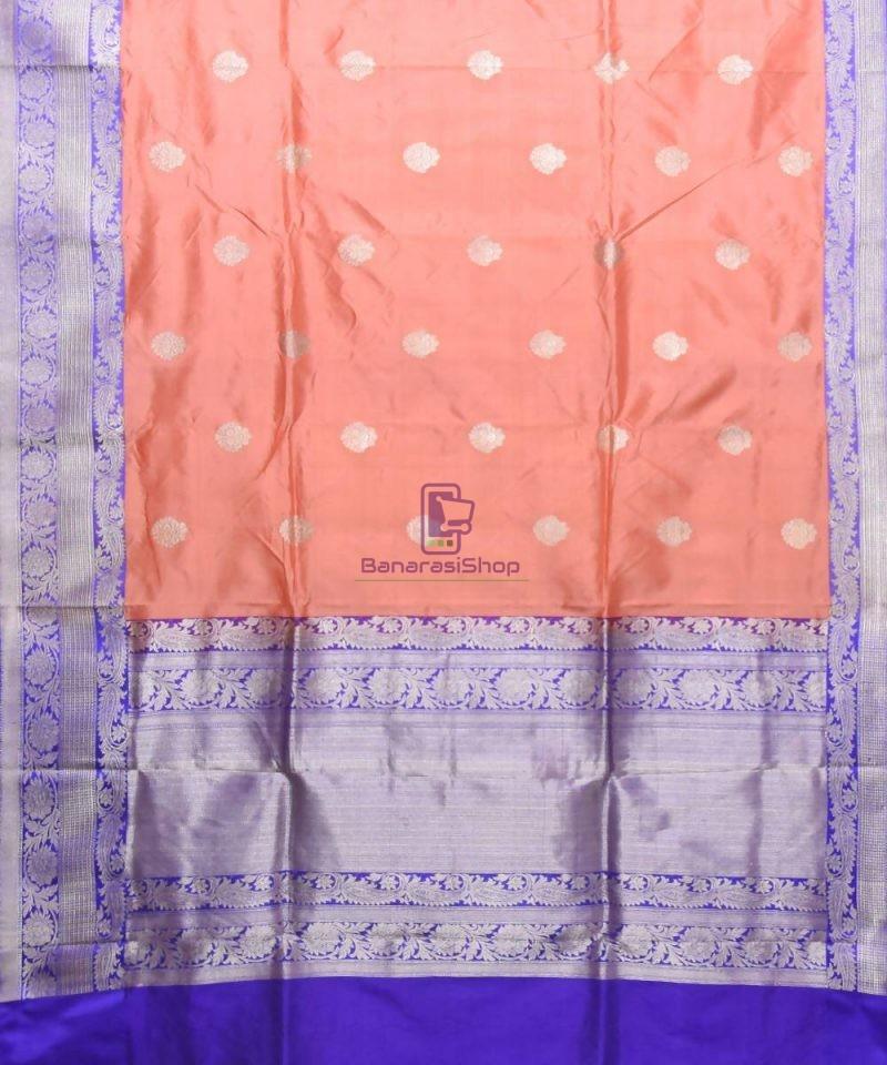 Banarasi Pure Katan Silk Handloom Peach Pink Saree 1