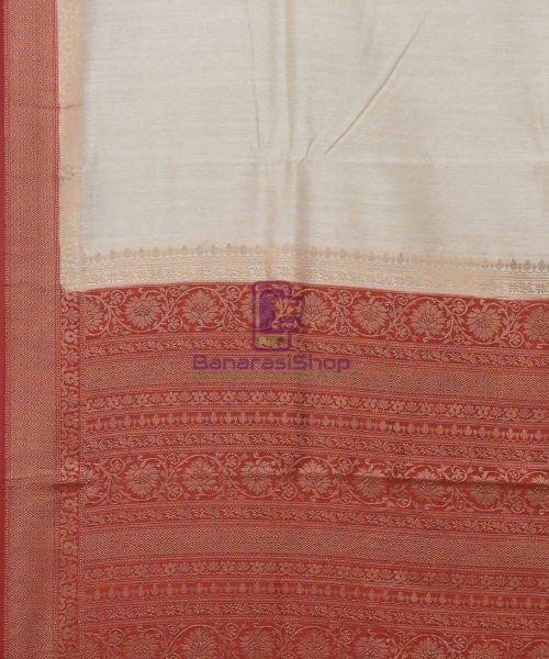 Woven Pure Muga Silk Banarasi Saree in Bone White 5