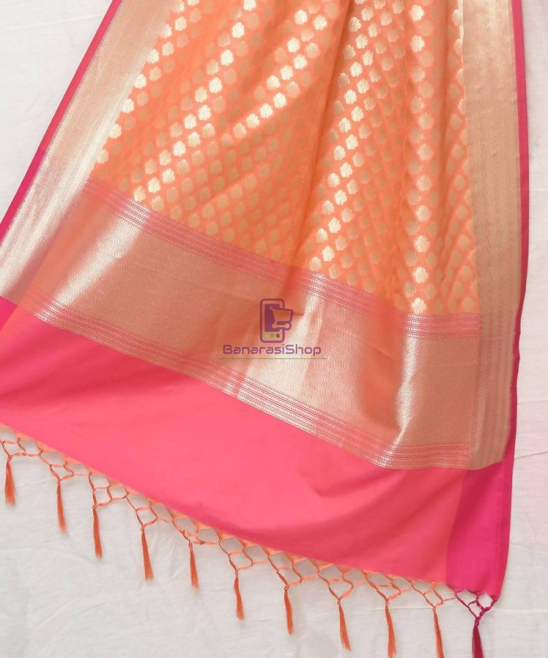 Woven Banarasi Art Silk Dupatta in Peach Pink 1