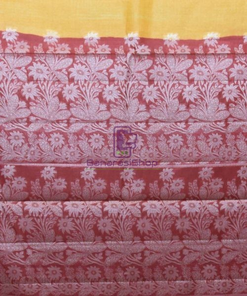 Woven Pure Tussar Silk Banarasi Saree in Butter Yellow 6