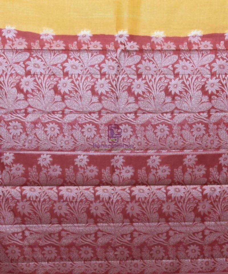 Woven Pure Tussar Silk Banarasi Saree in Butter Yellow 3