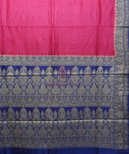 Woven Pure Tussar Silk Banarasi Saree in Fuschia Pink 5