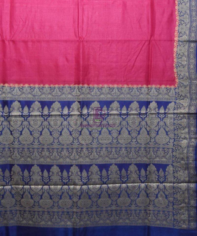 Woven Pure Tussar Silk Banarasi Saree in Fuschia Pink 2