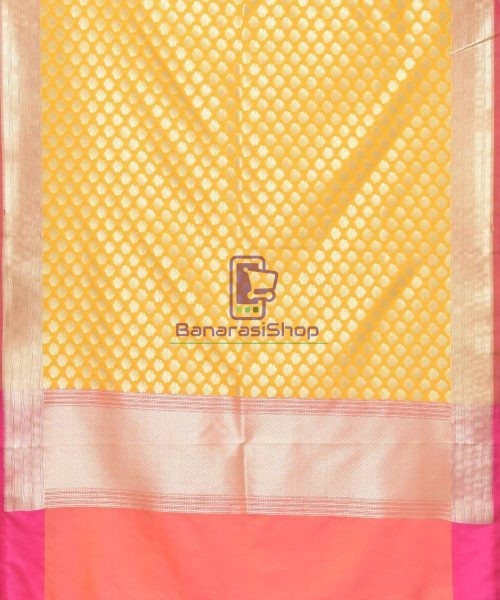 Woven Banarasi Art Silk Dupatta in Golden Yellow 3