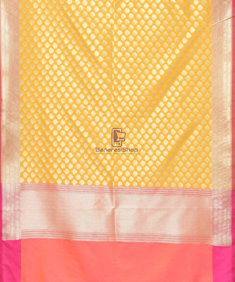 Woven Banarasi Art Silk Dupatta in Golden Yellow 2