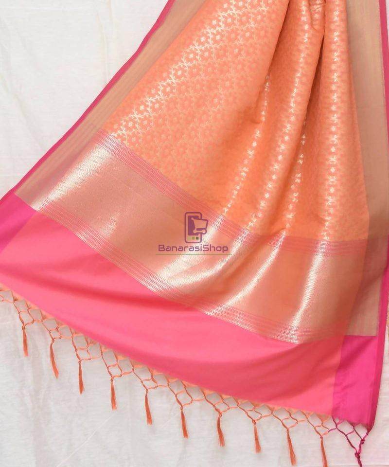 Woven Banarasi Art Silk Dupatta in Peach Pink 1