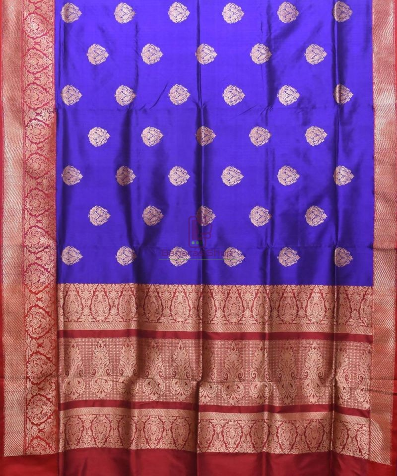 Banarasi Pure Katan Silk Handloom Navy Blue Saree 1