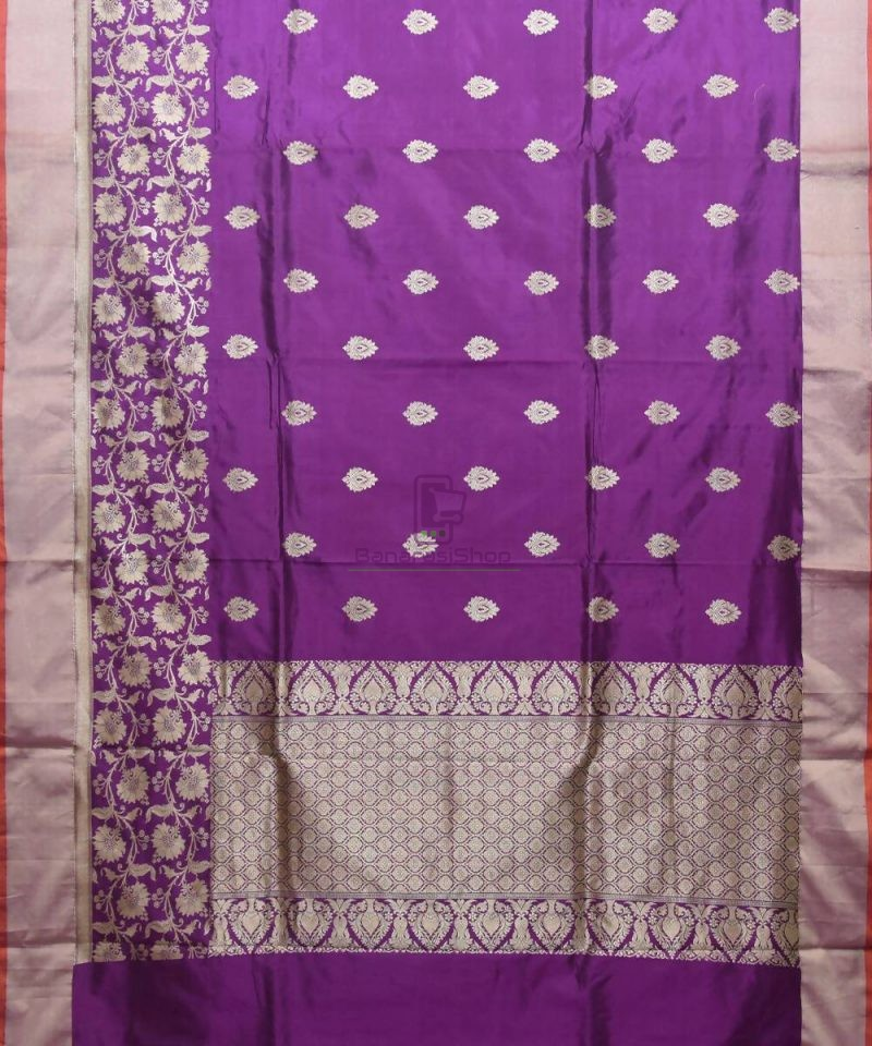 Banarasi Pure Katan Silk Handloom Purple Saree 1