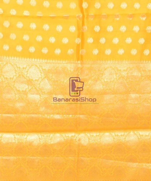 Pure Silk Banarasi Dupion Katan Handloom Saree in Yellow 6