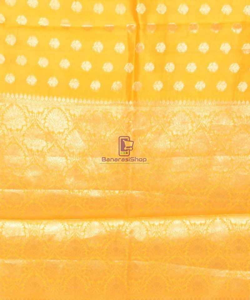 Pure Silk Banarasi Dupion Katan Handloom Saree in Yellow 3