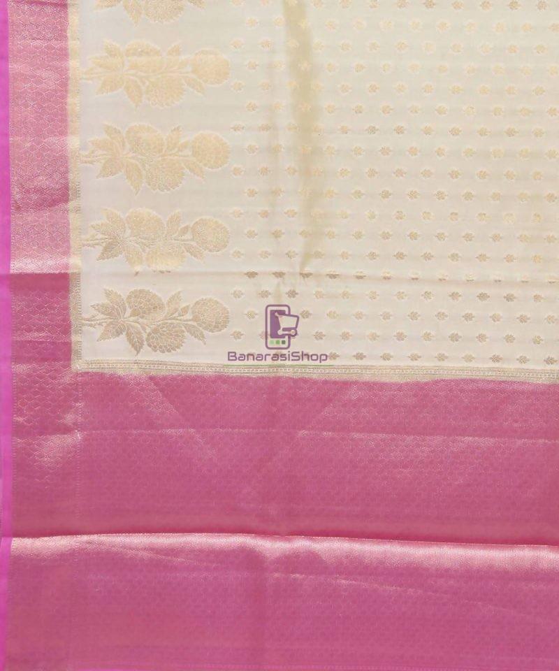 Pure Silk Banarasi Dupion Katan Handloom Saree in Off White 2