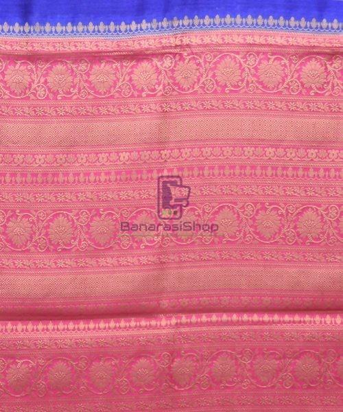 Woven Pure Muga Silk Banarasi Saree in Navy Blue 6