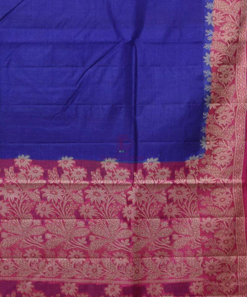 Woven Pure Tussar Silk Banarasi Saree in Royal Blue 2