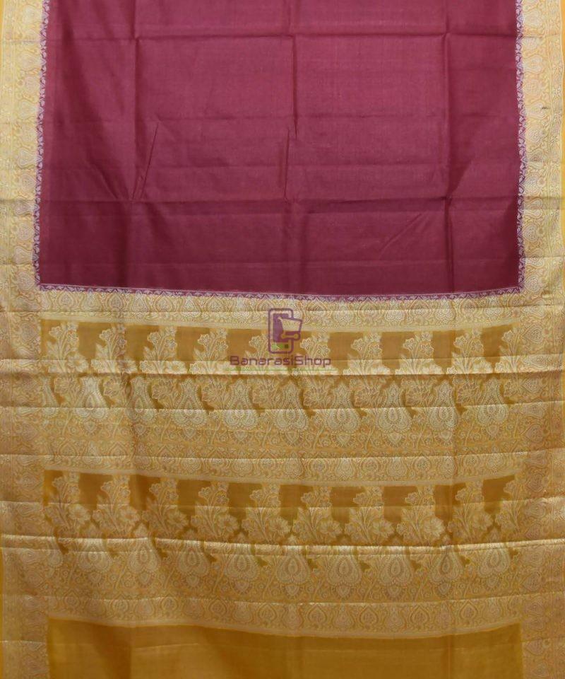 Woven Pure Tussar Silk Banarasi Saree in Dark Mauve 1