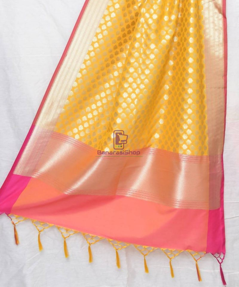 Woven Banarasi Art Silk Dupatta in Golden Yellow 1