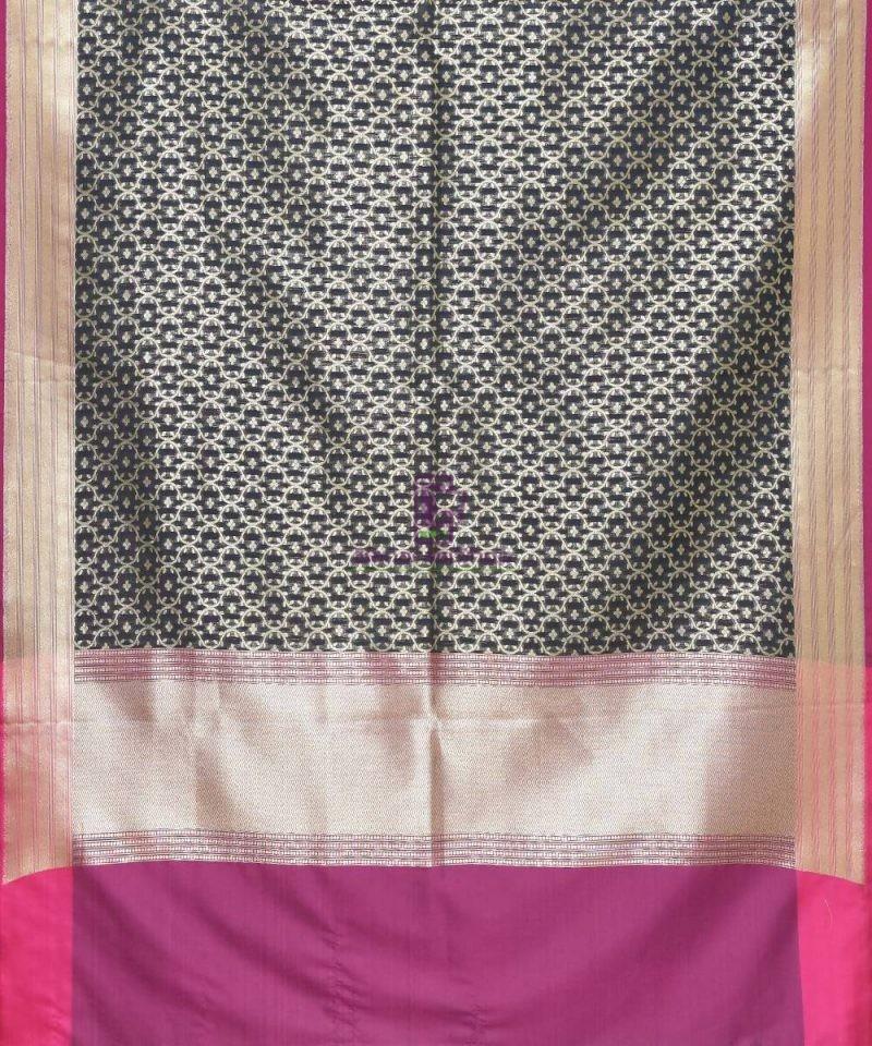 Woven Banarasi Art Silk Dupatta in Black 2