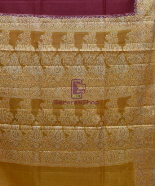 Woven Pure Tussar Silk Banarasi Saree in Dark Mauve 6