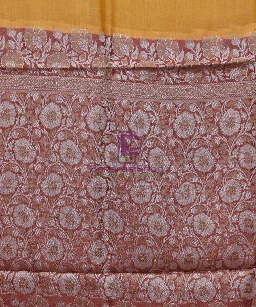 Woven Pure Tussar Silk Banarasi Saree in Mustard Orange 6