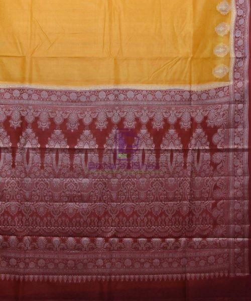 Woven Pure Tussar Silk Banarasi Saree in Mustard Yellow 5