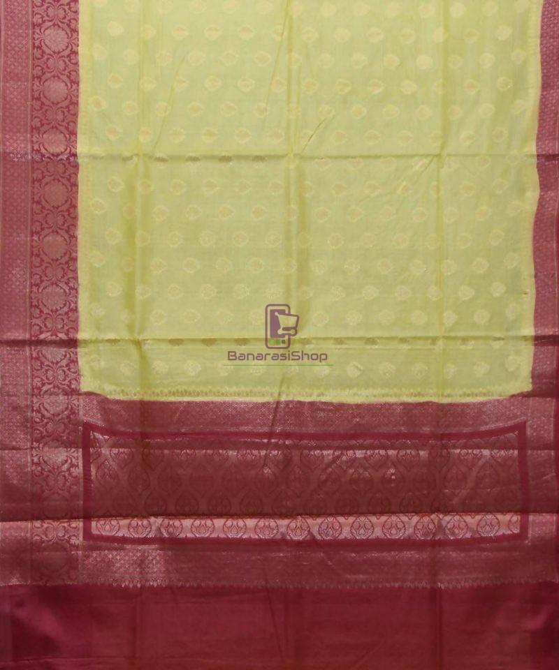 Woven Pure Tussar Silk Banarasi Saree in Olive Green 1