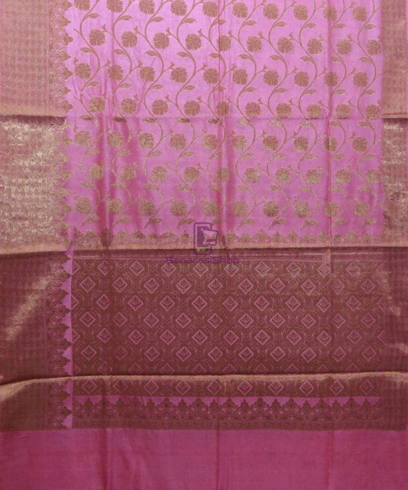Woven Pure Tussar Silk Banarasi Saree in Taffy Pink 1