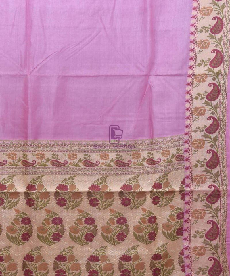 Woven Pure Tussar Silk Banarasi Saree in Lilac Purple 2
