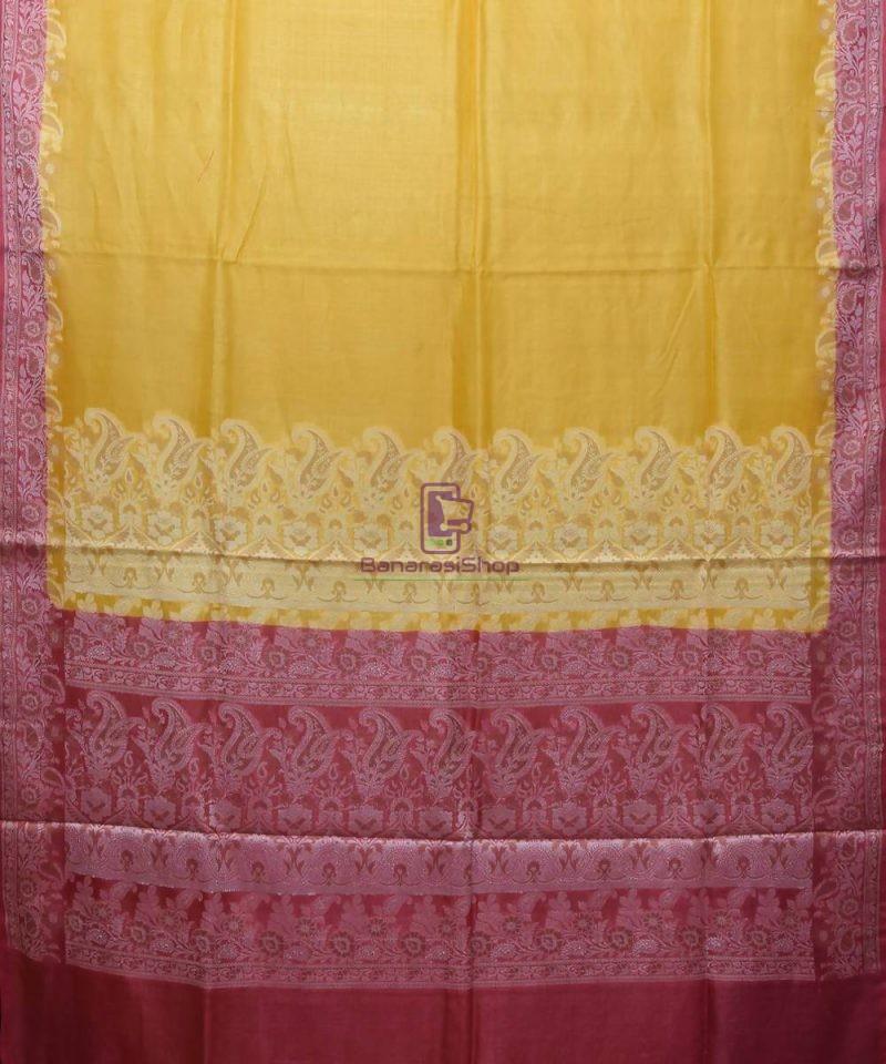 Woven Pure Tussar Silk Banarasi Saree in Canary Yellow 1