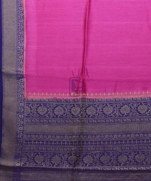 Woven Pure Muga Silk Banarasi Saree in Magenta 5