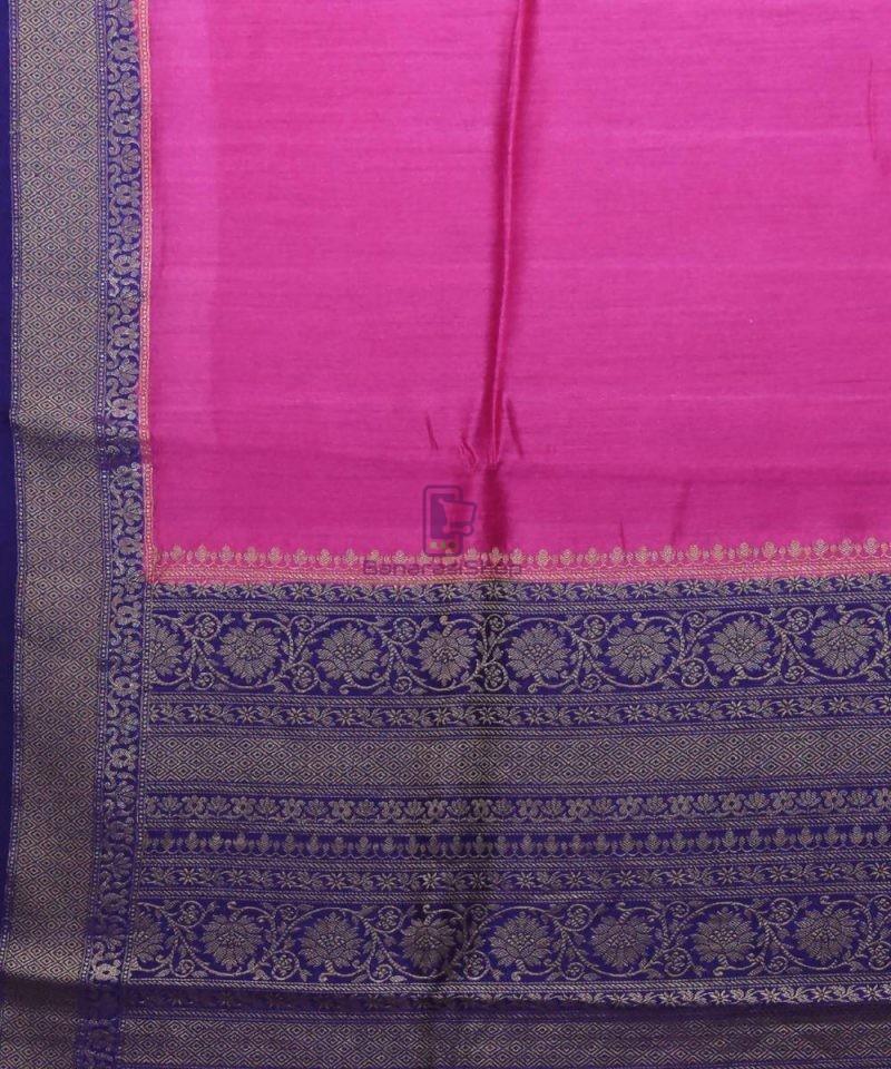 Woven Pure Muga Silk Banarasi Saree in Magenta 2
