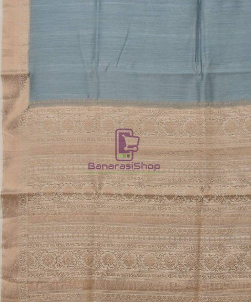 Woven Pure Muga Silk Banarasi Saree in Stone Blue 5