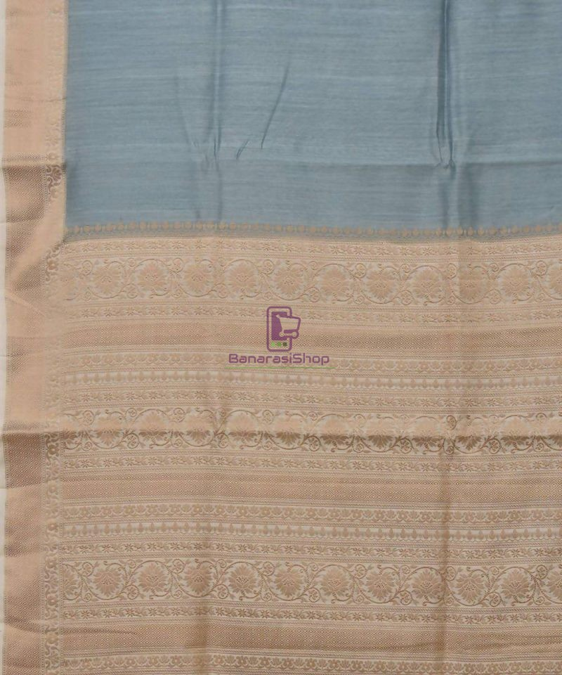 Woven Pure Muga Silk Banarasi Saree in Stone Blue 2