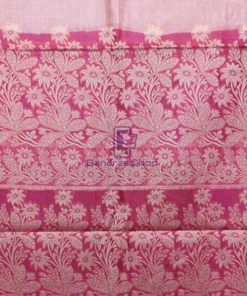 Woven Pure Tussar Silk Banarasi Saree in Rose Pink 7